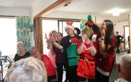 Aged Care Staff entertaining at Christmas Party